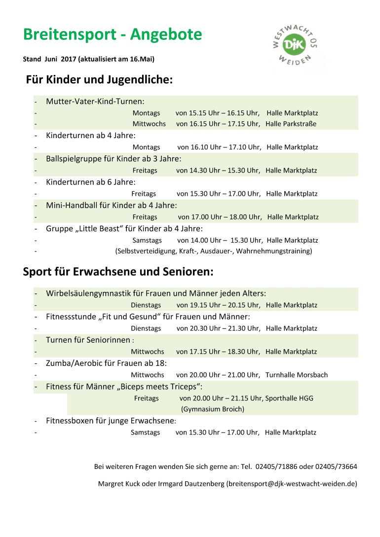 Breitensport-Angebot ab Mai 2017