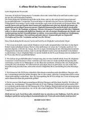 Vierter offener Brief des Vorsitzenden bezüglich Corona